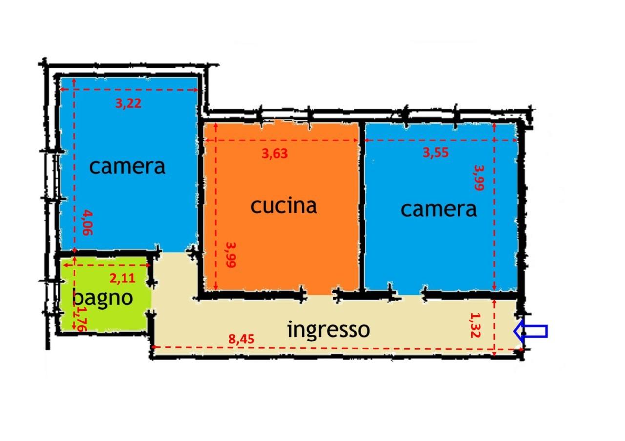 Rif c2569 appartamento trilocale in vendita a bologna for Planimetrie in vendita