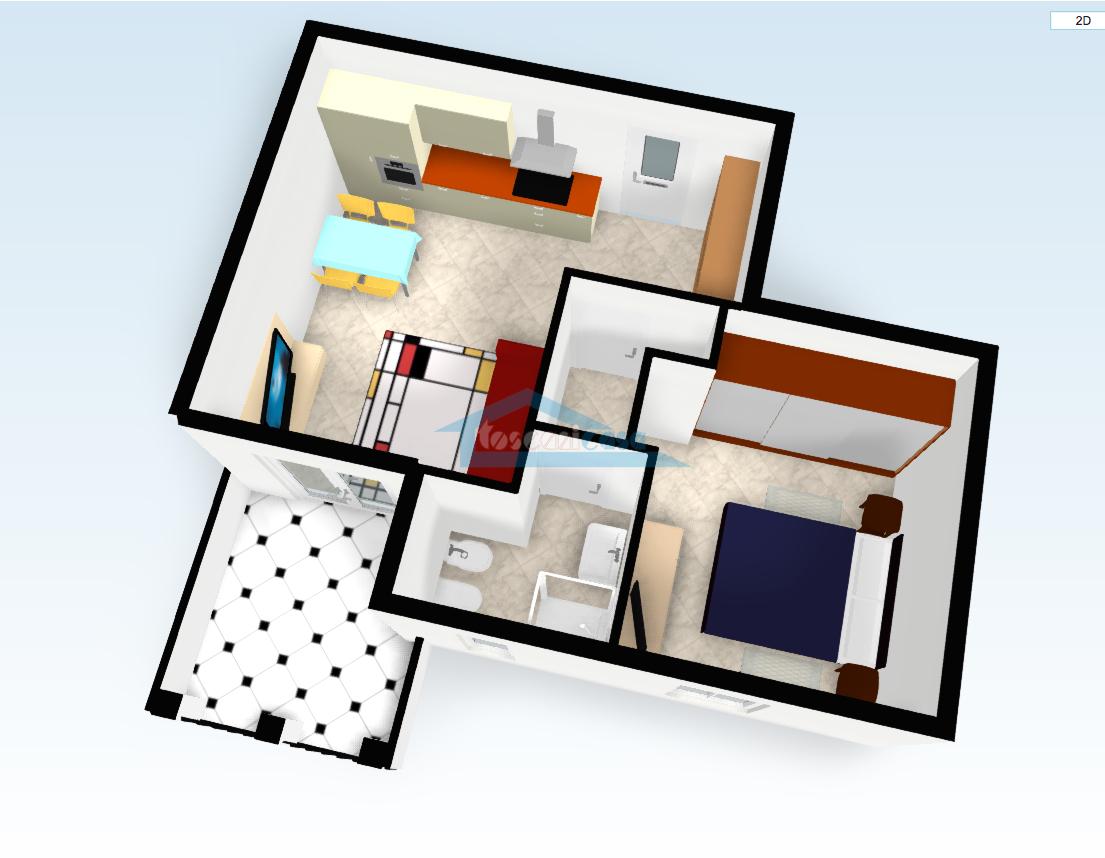 Pianta 3D Appartamento  a Erbusco