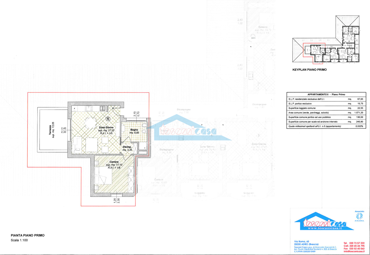 Pianta 2loc+terrazza con metrature Appartamento  a Adro