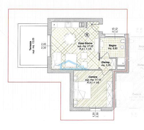 Pianta 2locali con terrazza Appartamento  a Adro