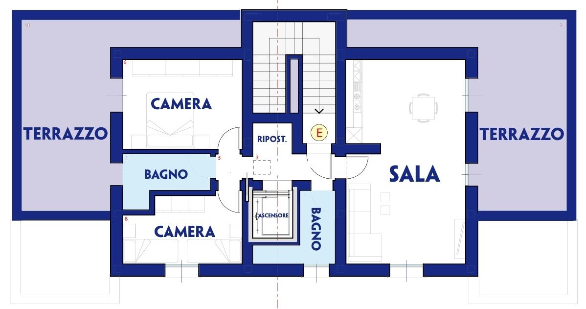 Planimetria indicativa piano attico
